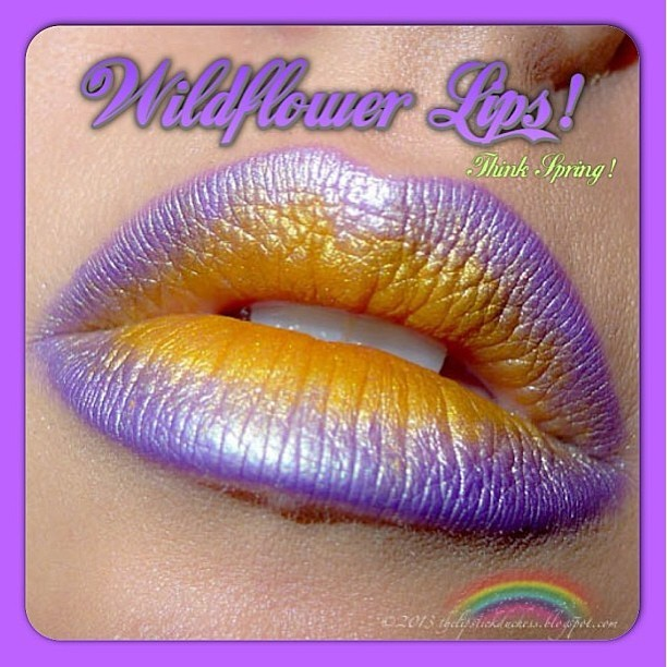 Metallic ombré lips by @thelipstickduchess, using the purple from the Alchemy palette and the gold from the Chinadoll palette. To achieve the effect, apply eyeshadow wet!  🌼🌸💐 #lipart #metalliclipstick #limecrime #alchemypalette #makeupartist #mua #lips