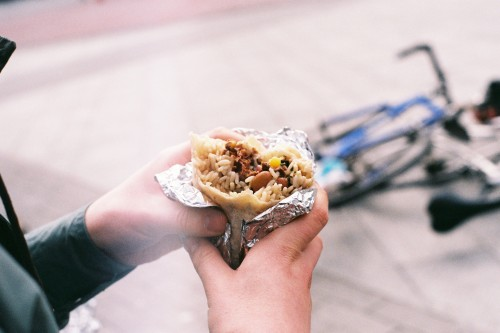 Burritos and bikes. Proving the stereotype.