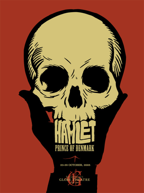 pyritesoulfox:  striking Globe Theatre Hamlet poster (2005)