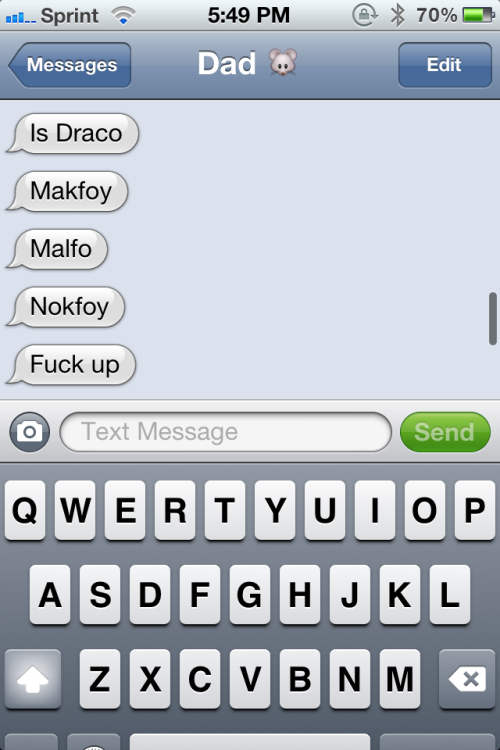 andallthatfunstuff:  He was just trying to spell Malfoy