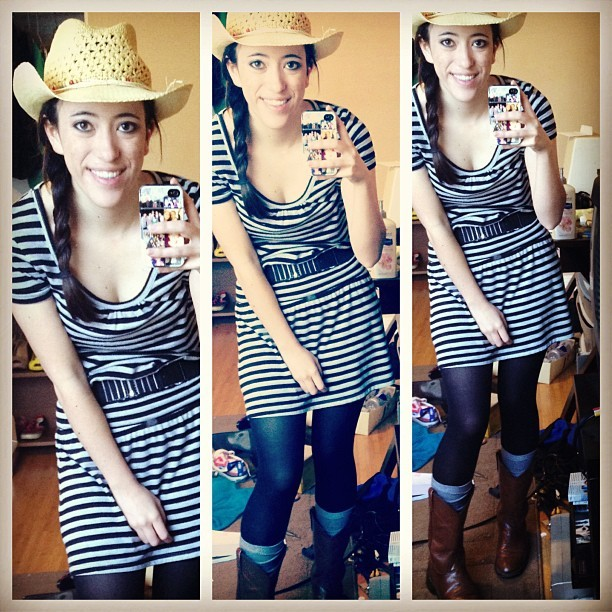 #OOTD #fashion #clothes #dress #stripes #cowgirl #south #boots #country
