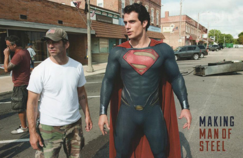 Director Zack Snyder and Henry Cavill behind the scene of Man of Steel. [x]