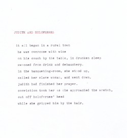 kaporter:  judith and holofernes, another poegle typed up on typewriter  ~~~art~~~