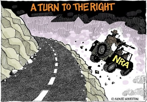 holygoddamnshitballs:   NRA Takes a Turn to the Right by Monte Wolverton, Cagle Cartoons