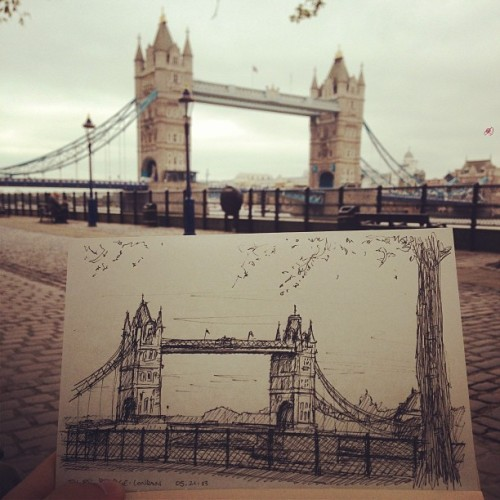 hoursandinfinity:   The best view within London to date. Sketch of the Tower Bridge. (at Tower of London)