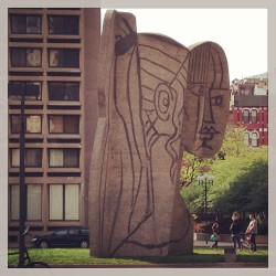 How many people can say they have a Picasso on their campus? #nyu #nyc #art #picasso #sculpture  (at Pablo Picasso Statue)
