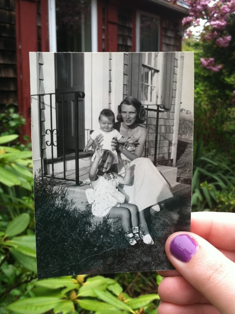 Dear Photograph,  On a carefree summer's day on Cape Cod, my grandmother poses with my mother and uncle by her side. 60 years later, four generations of our family gathered this weekend for her 90th birthday. Through World War II, six children, many grandchildren & great grandchildren, her beauty never faded. My mother and grandmother continue to be an inspiration for me every day, and I'm blessed to have known a life with them. Happy Birthday Grammie, and Happy Mother's Day mom!  Love,  Andrea