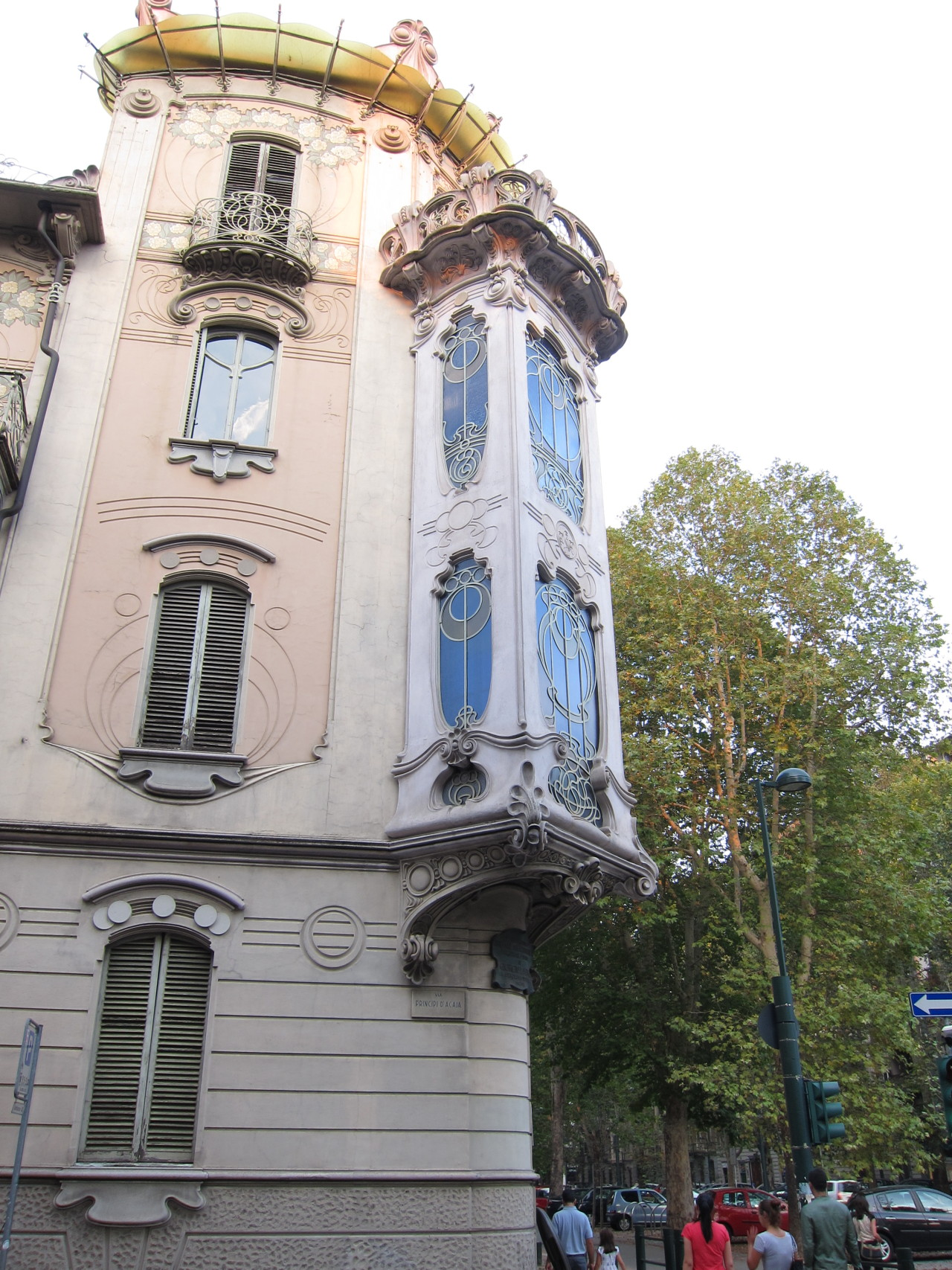 Art Nouveau (Stile Floreale) window bay in Turin, Italy.