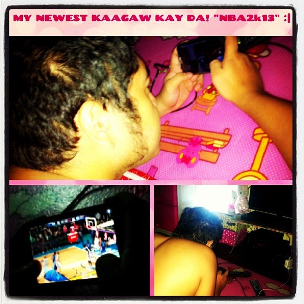 "Newest KARIBAL ko kay Sweetie ko?? HIS NEW GAME.. ""NBA 2K13"" 😕🏀📲 #newapp #news3application #nba2k13 #installed #newgame #happy #23rdmonthtous #ilovehim #tattooedbf #myman #instagramthatshit  (at My PinkyPink Paradise 💖)"