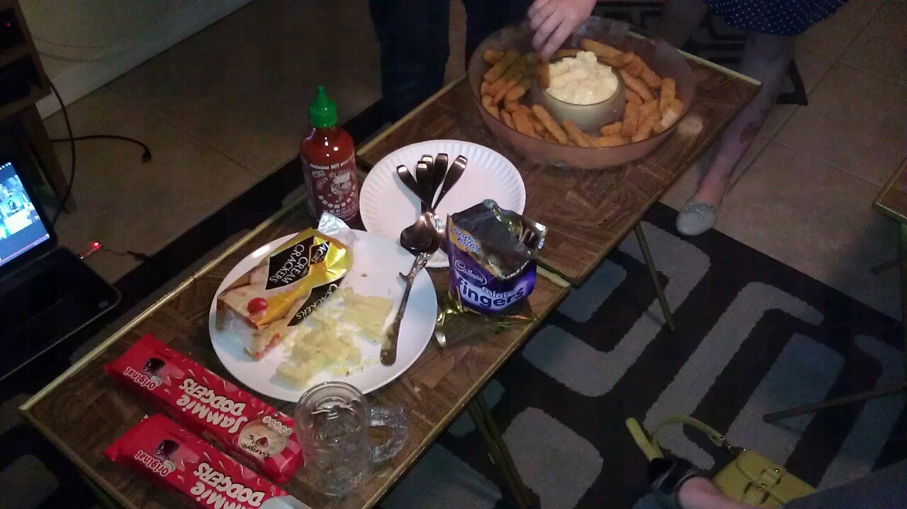 Doctor Who season finale party. And yes, fish fingers and custard.