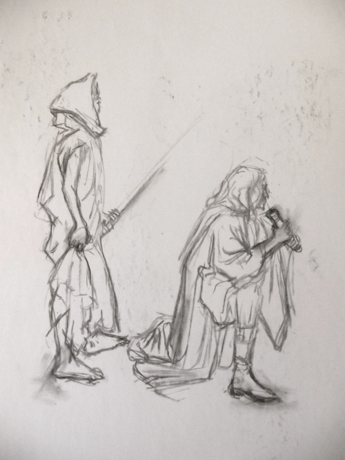 Drapery gesture study for portfolio #2. Yes, they are jedi.