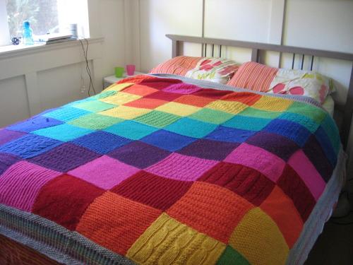rainbow blanket cascade 220 knitting handknit blanket donezo