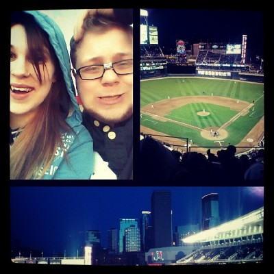 Celebrating our 11 months by watching the Twins win! I love my man @zekeisme. (: