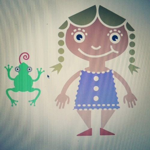 A frog and a little girl I illustrated for a children's book that I am designing. #book #story #kids #simple #simplistic #minimal #minimalistic #colorful #animal #frog #girl #instagramhub #instaaddict #instahub #instagramhub #iphonesia #android #instamood #instagood #instafamous