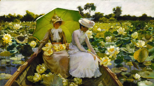 goodolarthistory:  Artist: Charles Courtney Curran  Title: Lotus Lilies  Date: 1888