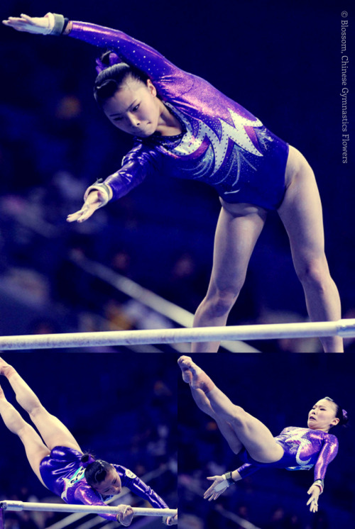 He Kexin - Uneven Bars (EF) @ 2013 Chinese National Gymnastics Championships (Photo Credit: Ni Minzhe, edited by zz)