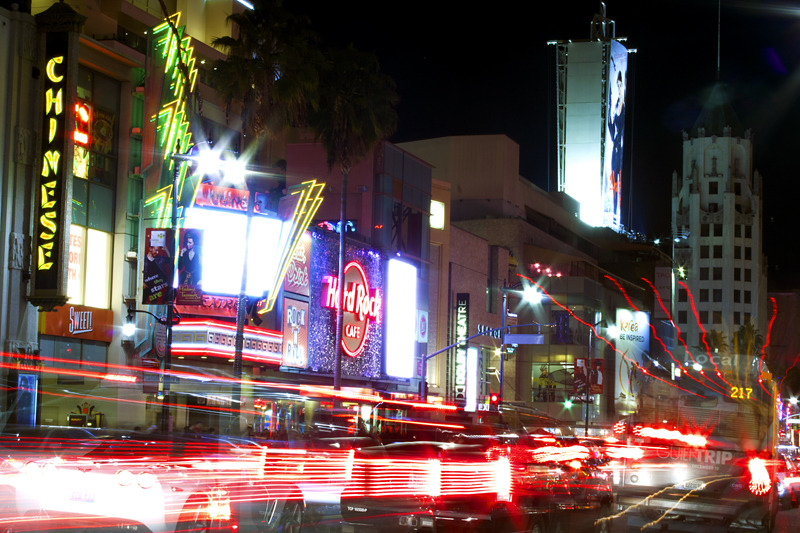 Traffic outside the Chinese Theater on Hollywood Blvd