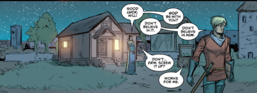 A little exchange between Will Scarlet and Maid Marian from ROBYN HOOD: WANTED #1! Just to whet your whistle for the new series.Artwork by Larry Watts, colors by Nick Filardi, letters by Jim Campbell.