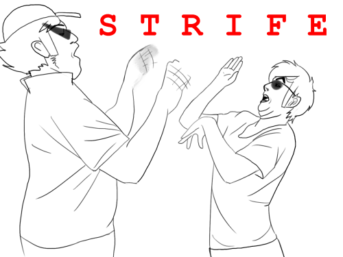 fish-hitles:  so my bro wanted me to draw striders strifing. edit: added their shades oops