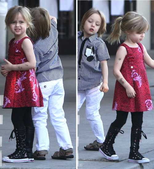 suicideblonde:  Vivienne and Knox Jolie-Pitt out in Burbank, April 21st  These kids certainly look like a perfect computer mash-up of their parents.