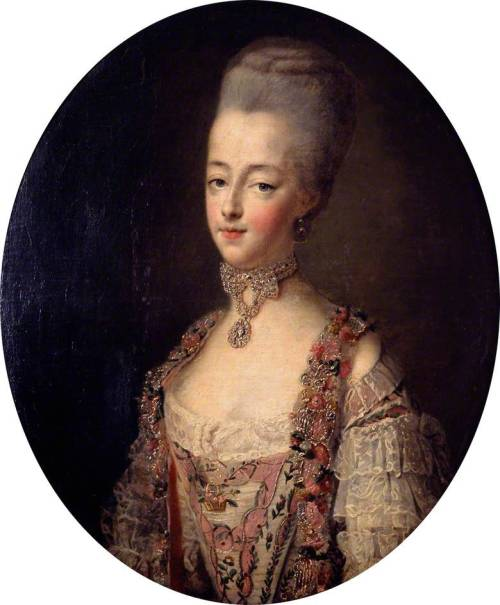 Marie Antoinette (1755–1793), Queen of France, in a Court Dress by François Hubert Drouais, 1773 France, the Victoria & Albert Museum   François Hubert Drouais (1727-1775) was born in Paris. He trained with his father, Hubert Drouais (1699-1767) and then with Donat Nonotte (1708-1785), Carle van Loo (1705-1765), Charles-Joseph Natoire (1700-1777) and François Boucher (1703-1770). He became a member of the Académie Royale in 1755 and achieved quickly a great success as a portrait painter, receiving prestigious commissions, especially from the court. This painting is a portrait of the Dauphine Marie-Antoinette, consort of the future king of France, Louis XVI, at the age of 17. It depicts the princess in a lavish court dress adorned with sumptuous jewels. This portrait was used as a model for a tapestry made in the Royal manufactory of the Gobelins by the Cozette father and son in 1775. This portrait is a good example of French state portraits of the 18th century and the representation of an almighty royalty about to fail in a few years time.