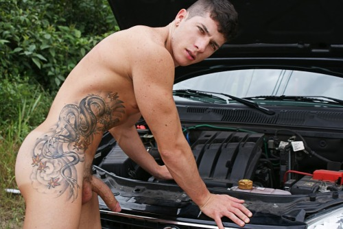 Working on the car with a  #boner ||  sfballer:  hotindyjock http://bit.ly/12lyYo9