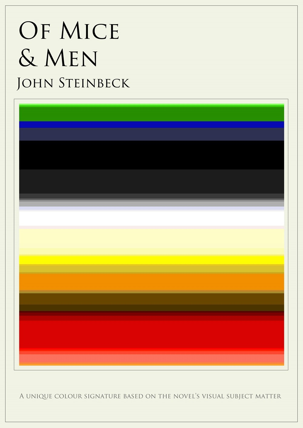 Clever Posters Chart the Colors in Famous Novels  What colors are the insides of your favorite novels? Well, sure, the off-white of a book page — but what about the worlds they create? In artist Jaz Parkinson's color charts project, he has created graphic signatures of novels' visual content, building mini rainbows that correspond to classic works.