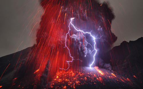 n-a-s-a:  Sakurajima Volcano with Lightning  Image Credit & Copyright: Martin Rietze (Alien Landscapes on Planet Earth)   Explanation: Why does a volcanic eruption sometimes create lightning? Pictured above, the Sakurajima volcano in southern Japan was caught erupting in early January. Magma bubbles so hot they glow shoot away as liquid rock bursts through the Earth's surface from below. The above image is particularly notable, however, for the lightning bolts caught near the volcano's summit. Why lightning occurs even in common thunderstorms remains a topic of research, and the cause ofvolcanic lightning is even less clear. Surely, lightning bolts help quench areas of opposite but separated electric charges. One hypothesis holds that catapulting magma bubbles or volcanic ash are themselves electrically charged, and by their motion create these separated areas. Other volcanic lightning episodes may be facilitated by charge-inducing collisions in volcanic dust. Lightning is usually occurring somewhere on Earth, typically over 40 times each second.