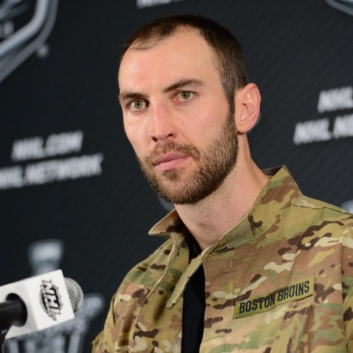 "nhlbruins:  Zdeno Chara wore the ""Army Rangers player of the game jacket"" following tonight's OT win #nhlbruins"
