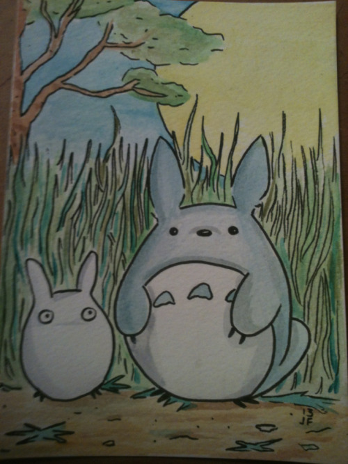 Totoro 5x7 ink and watercolor.