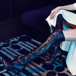 Command attention in Alexandre Birman's stunning and sexy laser-cut Python Over-The-Knee Boots.Photo: An Le at The Night Hotel