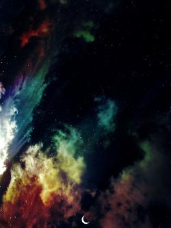 photography stars clouds The Moon beautiful view dark sky clolorful half in half night clowd