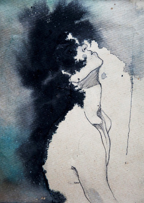 mydarkenedeyes:  Kamilla Lucarelli. (Ink & watercolour, 2012).