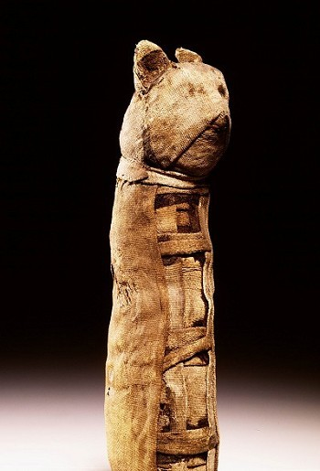 ancientpeoples:  Mummy of a cat Crudely mummified cat with traces of inlaid eyes, now removed Found in Egypt Date unknown Source: Leiden Museum of Antiquities