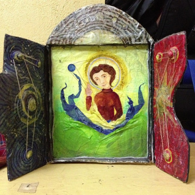 Up for grabs: icon of Remedios Varo from my senior art show. Papier mâché and cloth. Light enough to easily mail. on Flickr.For real. I'd rather not throw this away, but I don't need it in my house. Old work is just more clutter.