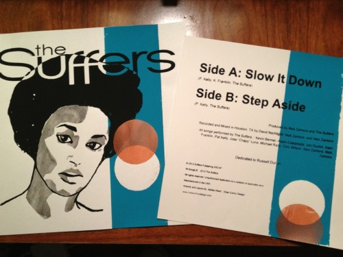 thesuffers:  We are pleased to announce that June 20th,2013, we will have in hand copies of the 7 inch to sell at our  Discovery Green concert. The show is 100% free and will be all ages. Chase Hamblin and The Roustabouts open the show at 6:30pm. Big thanks to Ashley ward of DrawComicDesign for handling the design and layout of the record. Want to hear the singles before everyone else? Check out the interview we did with Gabe Bravo and Stephen Brandau of Houston Sux here. Those guys are a hilarious, and be sure to check them out every week here. Our next show is sold out, but if you already have a pass to Free Press Summer Festival, be sure to catch us on the Mars Stage, June 2nd,at 11:40am. It's going to be a blast.We'll have digitial download cards available at the festival for those who want to purchase the music in advance. As always, thank you for the ongoing support. We love you all! The Suffers
