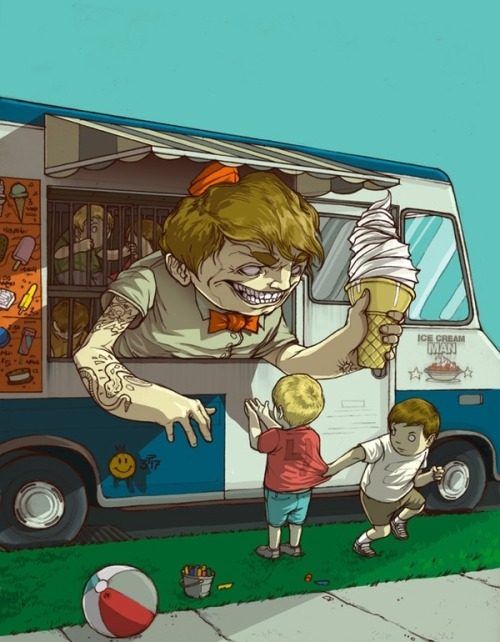 "city-of-vultures:  ""Ice Cream Man"" Wesley Eggebrecht  (United States) via Curioos"