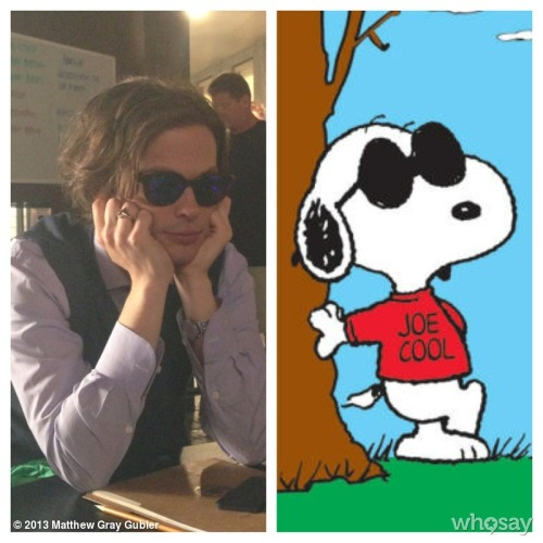 gublernation:  joe cool View more Matthew Gray Gubler on WhoSay
