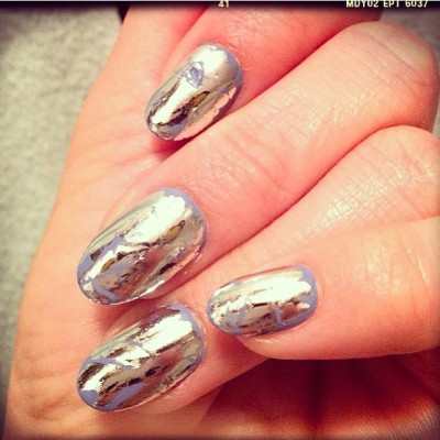 Tattered Chrome over pastel #lavender #mani by @stephstonenails #spring13 #nailinghollywood