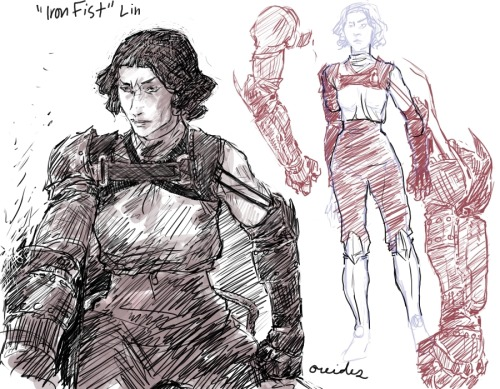 avatarsnowy:  oreides:  this may or may not be a part of the Cadet Bolin AU stuff, i haven't decided yet. it really depends on how much time i have to get into the story, but yeah. i was talking to Madi about this concept where a metalbender loses their arms and learns how to bend metal ones as an extension of them. this kind of thing, in my mind, would take a lot of control and weaken earthbending ability/full form martial arts, since a lot of energy would be directed into the arms to make them move. anyway- we got to talking and the idea formed that this happens to Lin in the AU (who else but a Beifong would figure this out?)… i'm not going to go into how she loses her arms, just in case i use the idea :> but once Lin recovers, she and Asami design this up together. the sketch on the left is Lin getting her fitting, before the attachments are added. to the right is after, with the upgrade for her metal chords (so she can still be SpiderLin haha) i suppose on her back should be another attachment for cables (like on her uniform) but i haven't drawn it yet eheh;  screaming