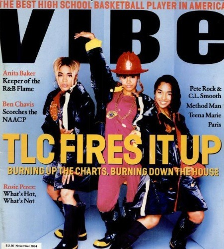 "Check out Lisa ""Left Eye"" Lopes front in center on the cover of VIBE with Rozanda 'Chili' Thomas and Tionne ""T-Boz"" Watkins of TLC!! We miss those days!! #ThrowbackThursday"