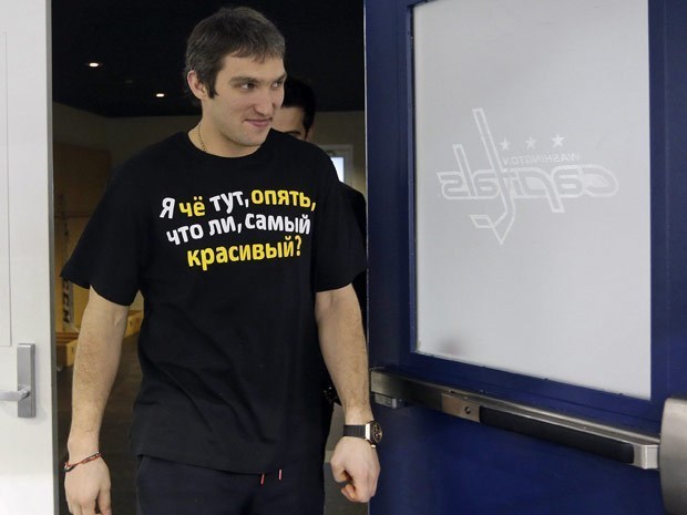 nationalpostsports:  Great shirt, or greatest shirt? Washington Capitals player Alex Ovechkin was sporting a funny shirt, when he met the media on Tuesday in Arlington, Va., which asked 'Am I really the prettiest one here, again?' (Photo: Pablo Martinez Monsivais/The Associated Press)
