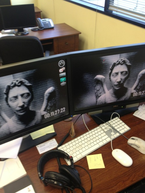 chicklikemeblog:  Setting a Weeping Angel as one of my random desktop backgrounds seemed like a good idea until I came into work and turned my monitors on.