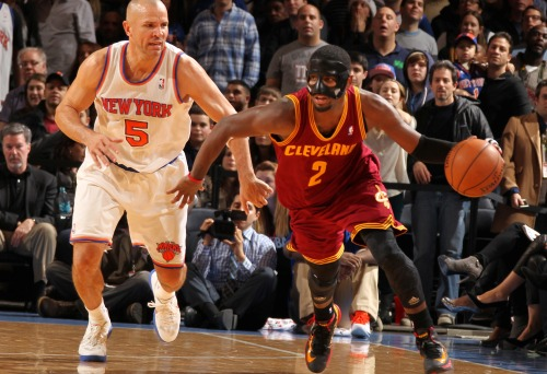 nba:  Kyrie Irving of the Cleveland Cavaliers drives against Jason Kidd of the New York Knicks during game on December 15, 2012 at Madison Square Garden in New York City. (Photo by Nathaniel S. Butler/NBAE via Getty Images)