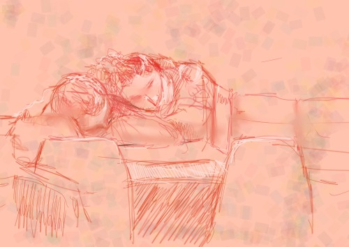 Asleep on the Ferry. Corel painter sketch of people who have nodded off.