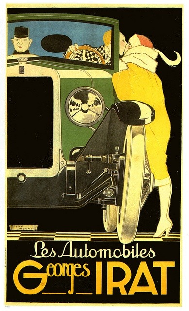 christinerod:  Les Autos Georges Irat.  1923 poster design by Rene Vincent.