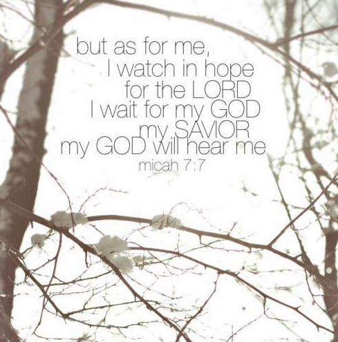 but as for me, I watch in hope for the LORD. I wait for my God, my Savior. My God will hear me. beautiful-yell:  Micah 7:7