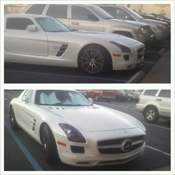 Spotted at Valentina's Pizza. #Mercedes #SLS #AMG #Gullwing #cars #automotive #auto #euro #pizza #fancyasfuck