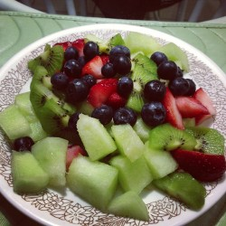 Fruit plate. Blueberries honeydew strawberries and kiwi. Day 8 ultimate reset