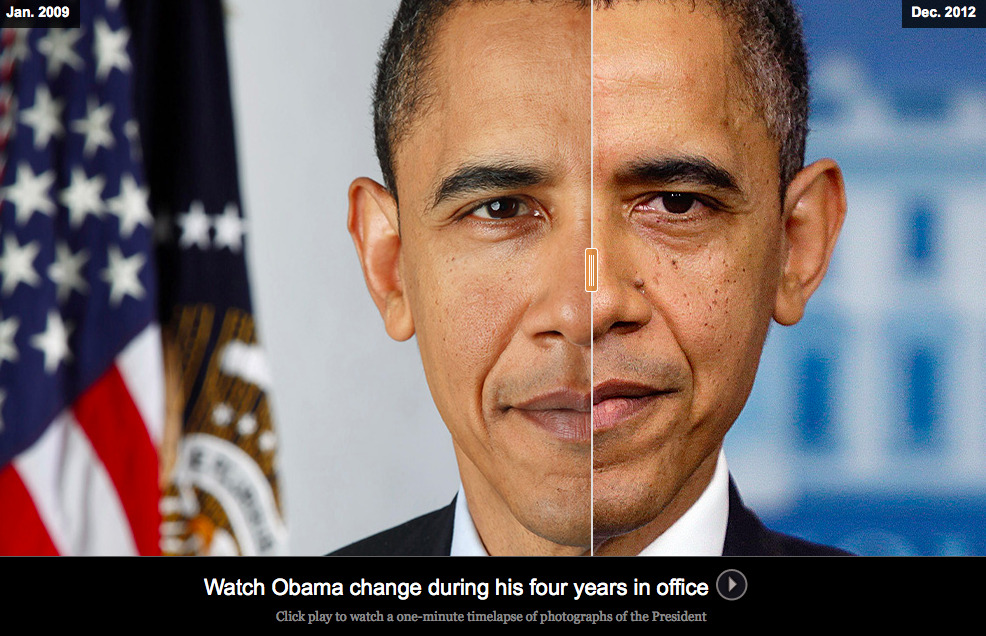 "The Age of Obama: Timelapse of President Barack Obama over four years in office  Time roughs up presidents. Photos of Barack Obama on Election Night 2008 look like they were taken much longer ago. Now his face has deeper creases and crow's feet, while his hair has turned white. ""You look at the picture when they're inaugurated and four years later, they're visibly older,"" said Connie Mariano, White House physician from 1992 to 2001. ""It's like they went in a time machine and fast-forwarded eight years in the span of four years."""